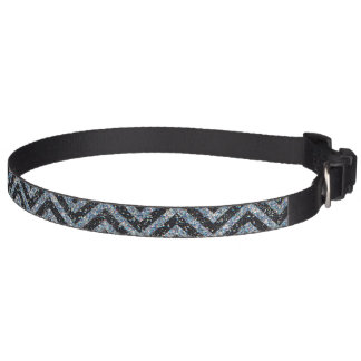 Glitter black chevron pattern pet collar