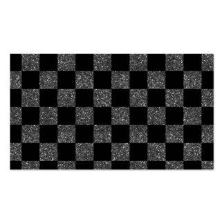 Glitter black glitter checkered pattern pack of standard business cards