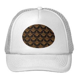 Glitter black gold damask pattern cap