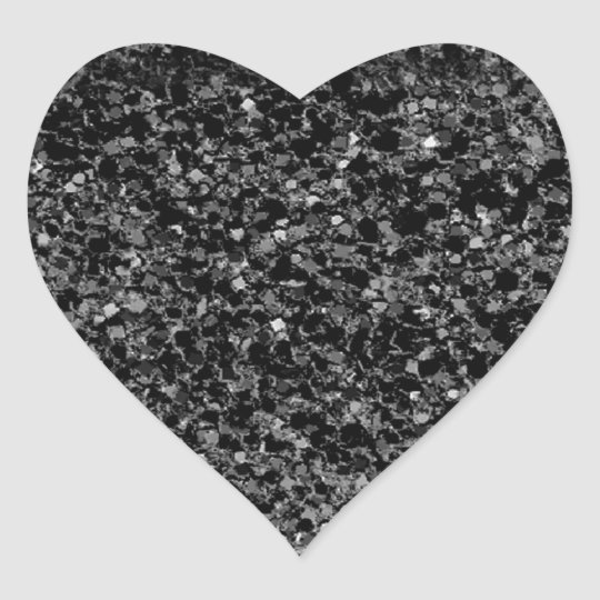 Glitter black heart sticker