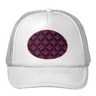 Glitter black hot pink damask pattern cap
