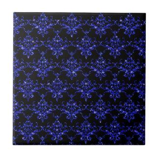 Glitter black indigo blue damask pattern tile