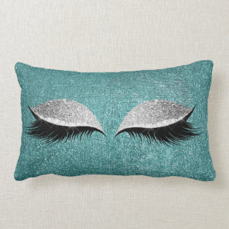 Glitter Black Makeup Eye Lashes Teal Silver Eye Lumbar Cushion