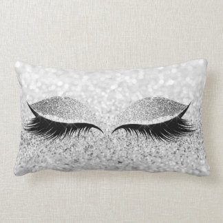 Glitter Black Makeup Eye Lashes White Silver Eye Lumbar Cushion