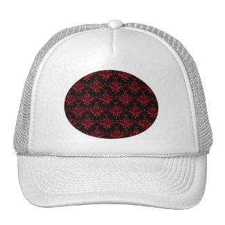Glitter black red damask pattern cap