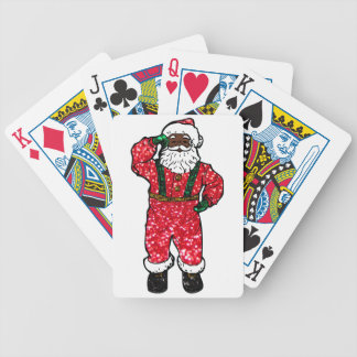 glitter black santa claus bicycle playing cards