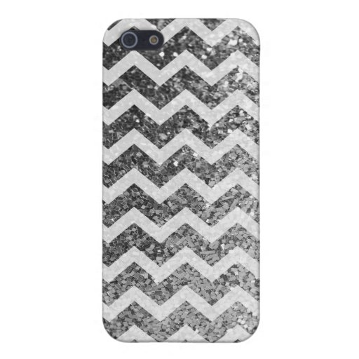 Glitter Bling Sparkly Chevron Pattern (silver) iPhone 5/5S Cases