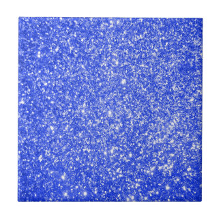 Glitter Blue Small Square Tile