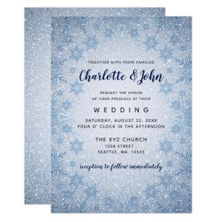 Glitter Blue Snowflakes winter wedding invitation