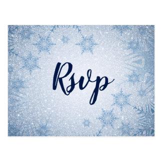 Glitter Blue Snowflakes winter wedding rsvp Postcard