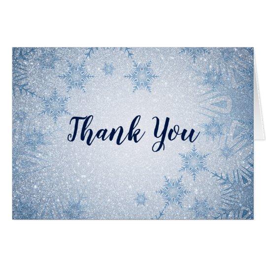 Glitter Blue Snowflakes winter wedding Thank You Card