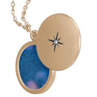 Glitter Bokeh, blue Round Locket Necklace