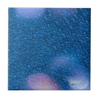 Glitter Bokeh, blue Small Square Tile