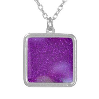 Glitter Bokeh, purple Square Pendant Necklace