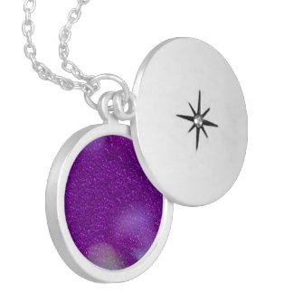 Glitter Bokeh, purple Round Locket Necklace
