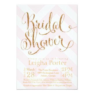 Glitter Bridal Shower Invitation Pink Gold Chevron