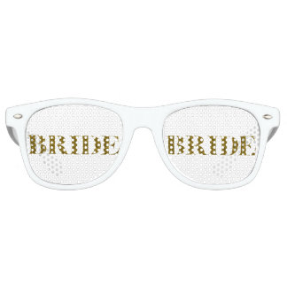 Glitter Bride Gold Retro Sunglasses