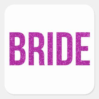 Glitter Bride Pink Square Sticker