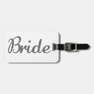 Glitter Bride Silver Bag Tag