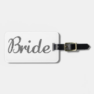 Glitter Bride Silver Luggage Tag