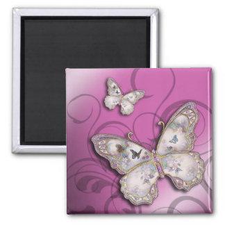 """Glitter Butterflies"" (lilac) by Cheryl Daniels Square Magnet"
