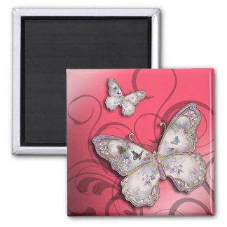 """Glitter Butterflies"" (pink) by Cheryl Daniels Square Magnet"