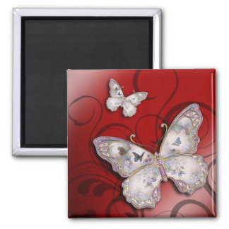 """""""Glitter Butterflies"""" (red) by Cheryl Daniels Square Magnet"""