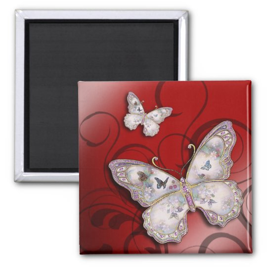"""Glitter Butterflies"" (red) by Cheryl Daniels Square Magnet"