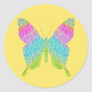 Glitter Butterfly -Choose your background color! Classic Round Sticker