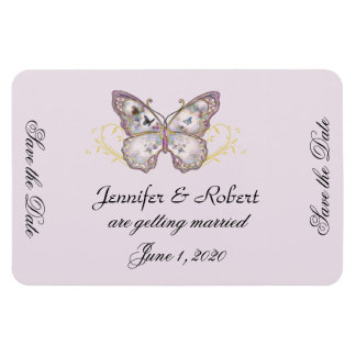 Glitter Butterfly Lavender Wedding Save the Date Magnet