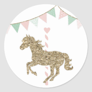 Glitter Carousel Horse Classic Round Sticker