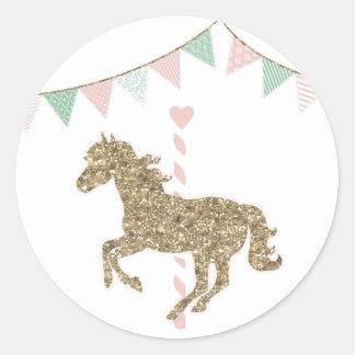 Glitter Carousel Horse Round Sticker