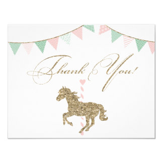 Glitter Carousel Horse | Thank You 11 Cm X 14 Cm Invitation Card