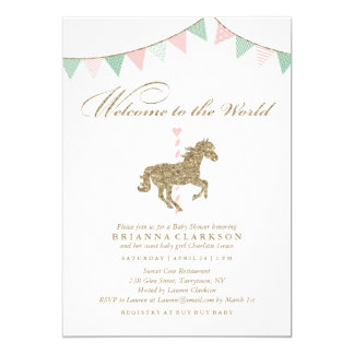 Glitter Carousel Horse | Welcome To The World Baby 13 Cm X 18 Cm Invitation Card