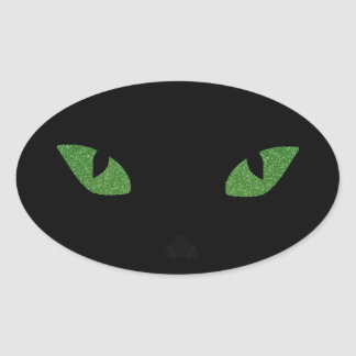 Glitter Cat Eyes Oval Sticker