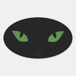 Glitter Cat Eyes Oval Sticker