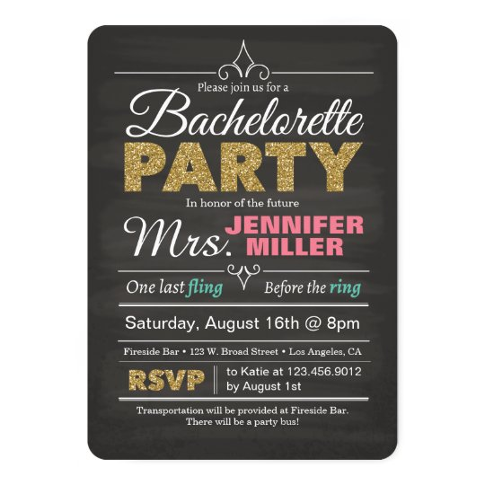 Glitter Chalkboard Bachelorette Party Invitation