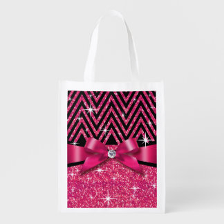 Glitter Chevron Bling Diamond Bow | fuchsia