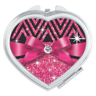 Glitter Chevron Bling Diamond Bow | fuchsia Compact Mirror