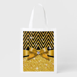 Glitter Chevron Bling Diamond Bow | gold