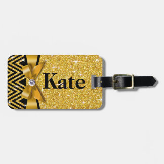 Glitter Chevron Bling Diamond Bow | gold Luggage Tag