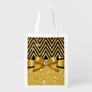Glitter Chevron Bling Diamond Bow | gold Reusable Grocery Bag