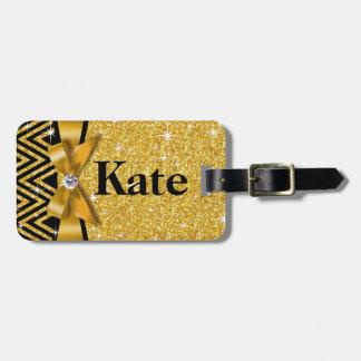 Glitter Chevron Bling Diamond Bow | gold Travel Bag Tags