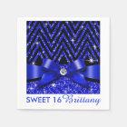 Glitter Chevron Bling Diamond Bow | sapphire Paper Napkin