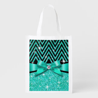 Glitter Chevron Bling Diamond Bow | teal Reusable Grocery Bag
