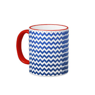 Glitter Chevron Blue Mugs
