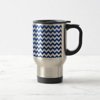 Glitter Chevron Blue Stainless Steel Travel Mug