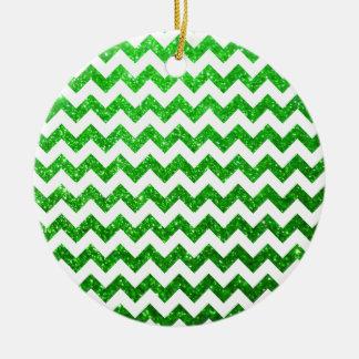 Glitter Chevron Green Christmas Ornament