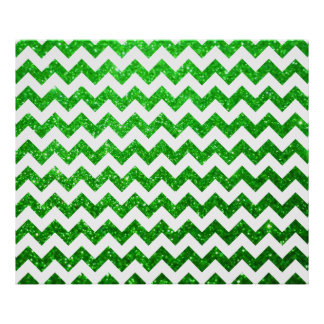 Glitter Chevron Green Posters