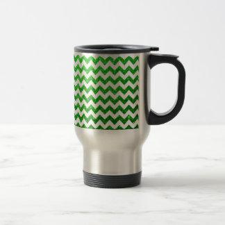 Glitter Chevron Green Stainless Steel Travel Mug